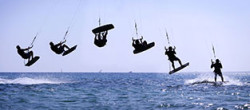 Kitesurfing lessons in the water